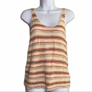Free People Yellow Red Stripe Knit Tank SP A4 0071